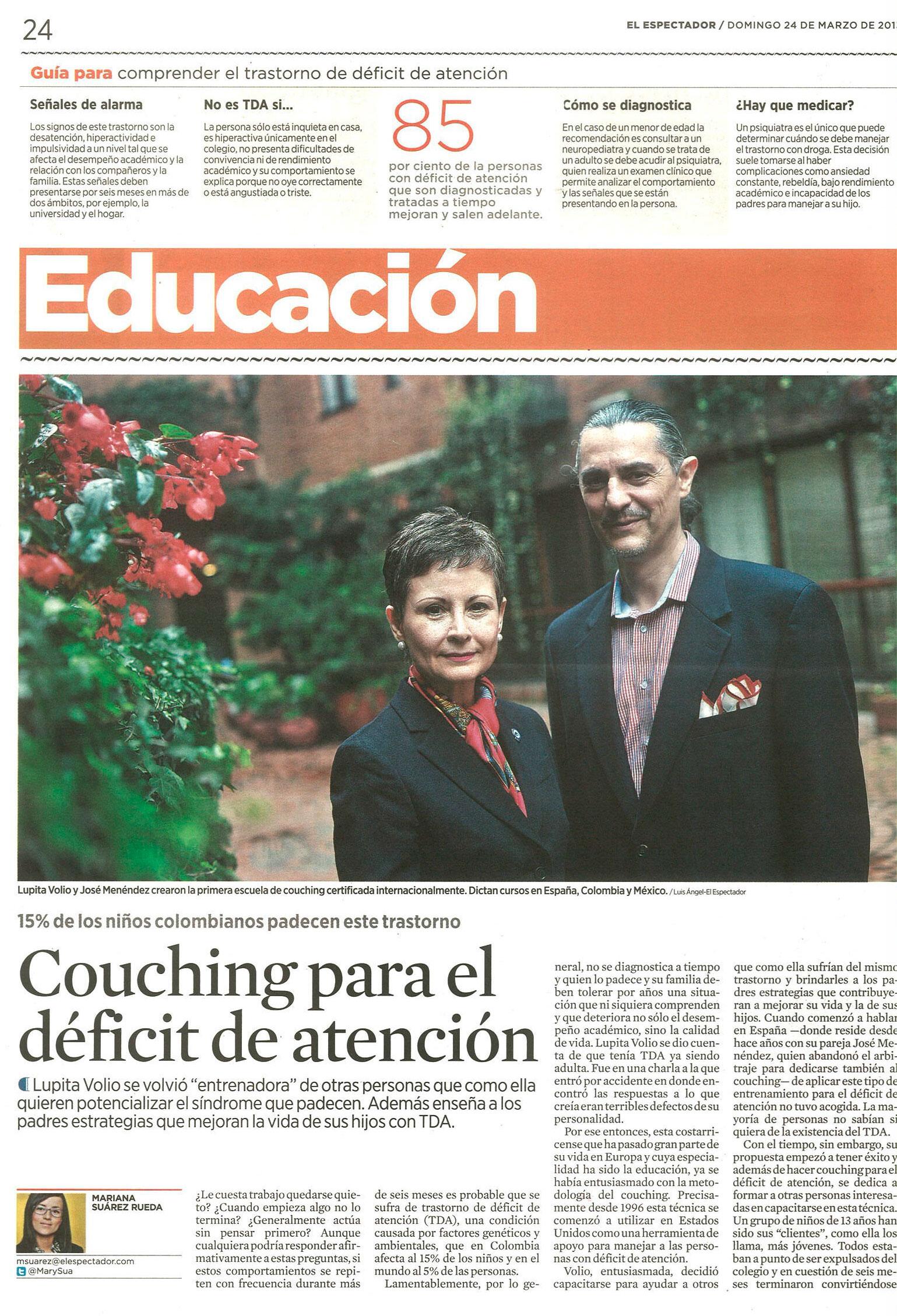 Entrevista 24 de Marzo El Espectador Coaching para el déficit de atención
